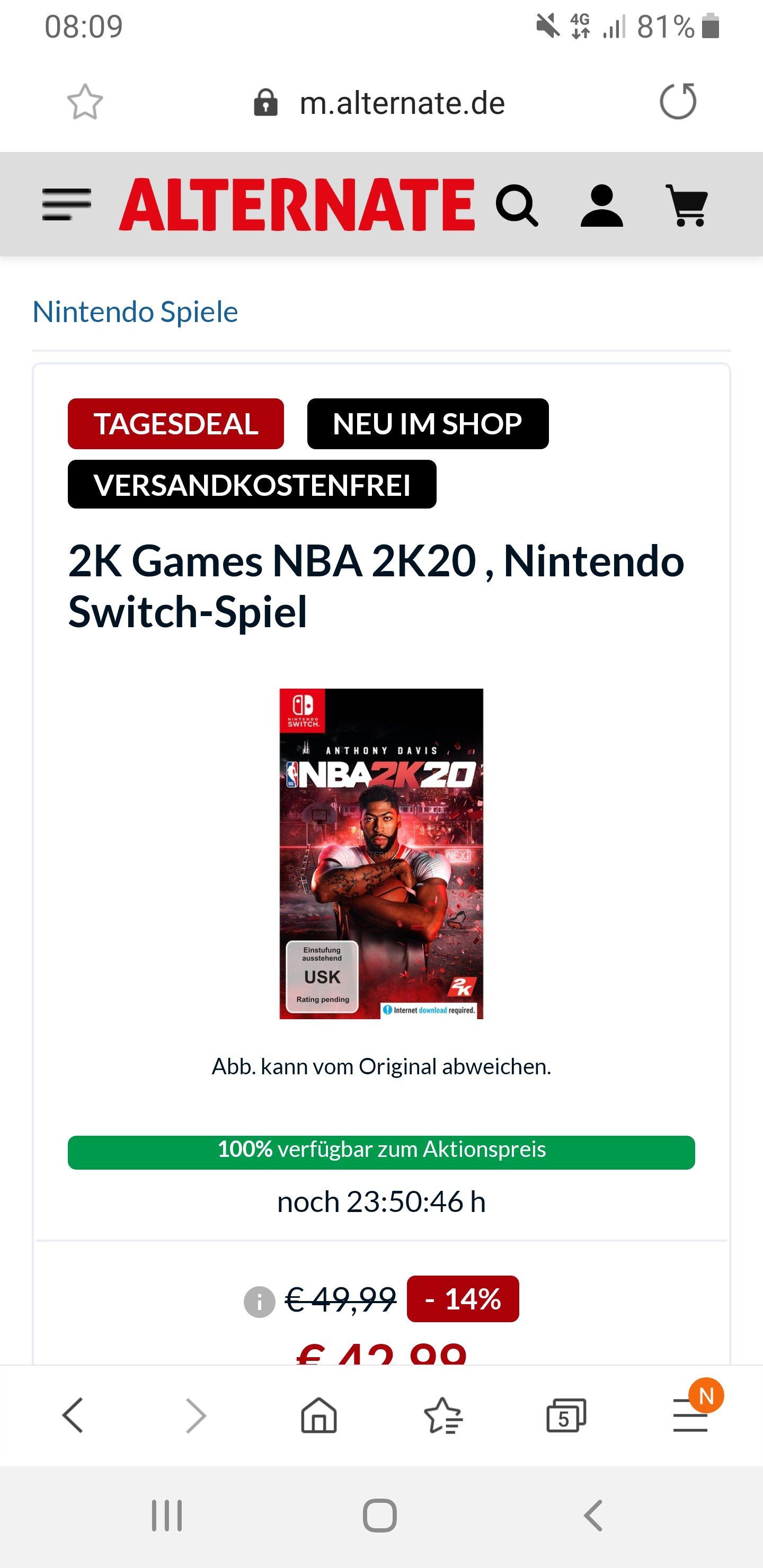 NBA 2K20 Nintendo Switch bei Alternate