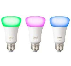 Philips Hue White and Color Ambiance E27 LED Lampe Dreierpack, dimmbar, kompatibel mit Amazon Alexa für 80,11€ (Amazon UK)