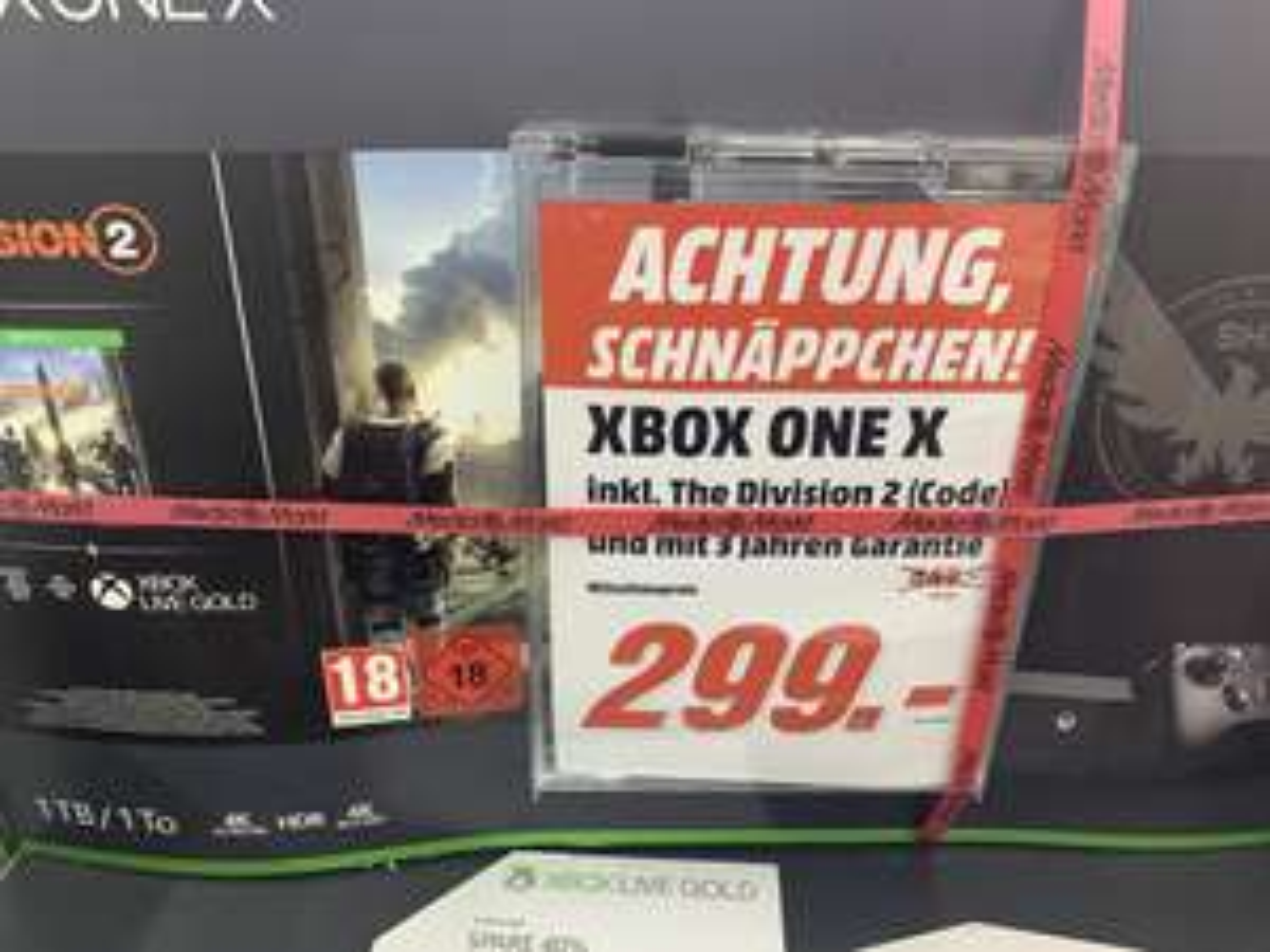 Microsoft Xbox One X 1TB + Tom Clancy's: The Division 2 Bundle + 3 Jahre Garantie + 1 Monat Xbox Live°Media Markt Berlin Alexa°Lokal