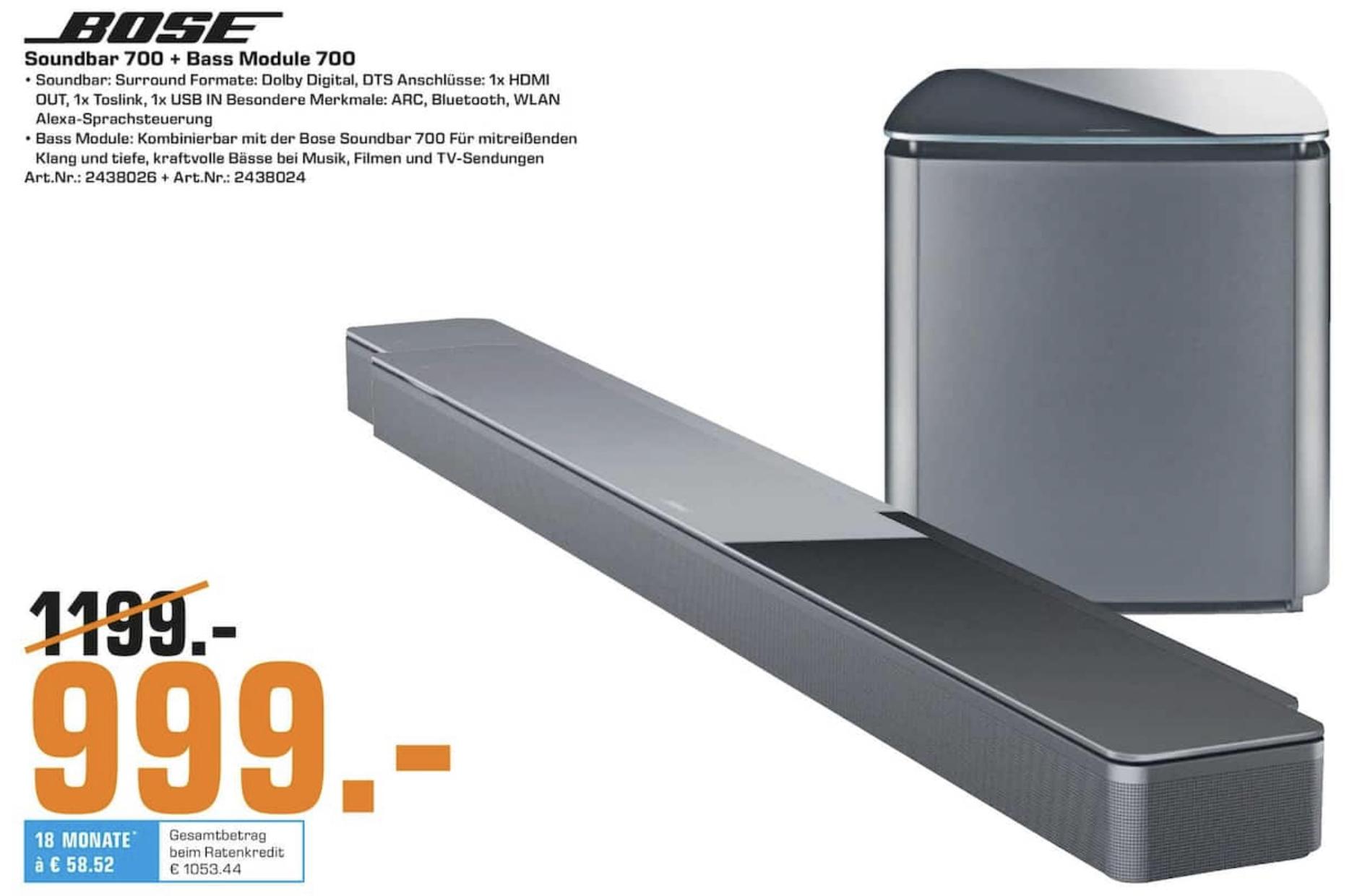 Lokal Saturn Lübeck: Bose Soundbar 700 + Bose wireless Bass Module 700 für zusammen 999€ - evtl. auch im Bose Store