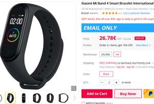 Update: Xiaomi Mi Band 4 International Version - E-Mail Only Gearbest