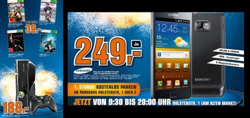 *Preiskracher* Samsung Galaxy S2 Noble Black ohne Vertrag im Saturn Kiel für 249 Euro!!! Oder Xbox  360 mit 250GB und 4 Games + Controller für 188 Euro!!