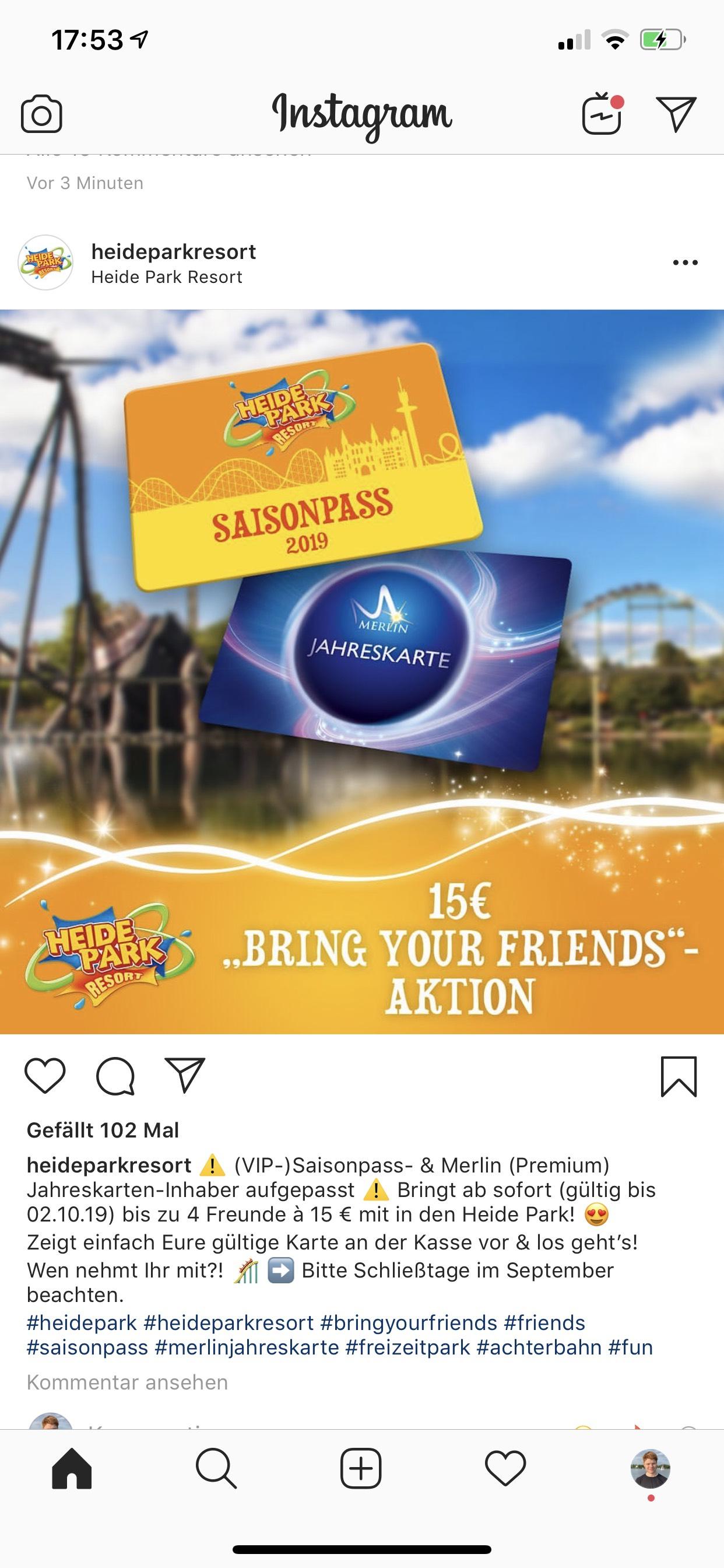 Heide-Park Jahreskarteninhaber - Bring a friend 15€