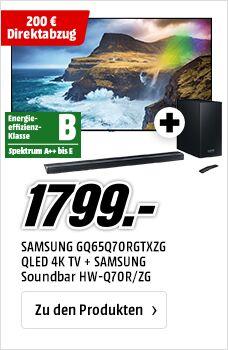 "Samsung GQ65Q70 + HW-Q70 Dolby Atmos Soundbar - 2019er 65"" TV mit 2 x DVB-T2/C/S2, 120Hz, Full-Array Local Dimming usw."