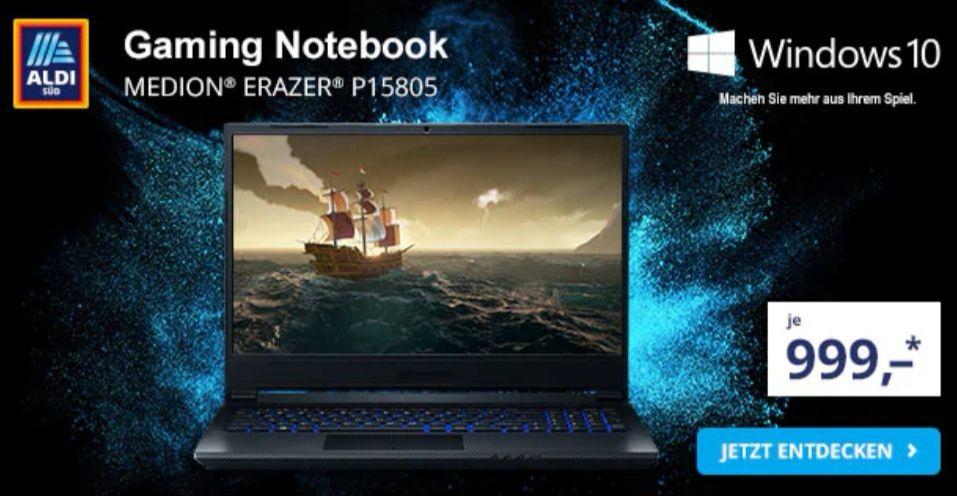 Ab 29.08 Medion Erazer P15805 Gaming Laptop GTX 1660Ti, i5-9300H Prozessor, 512 GB SSD, 16 GB DDR4