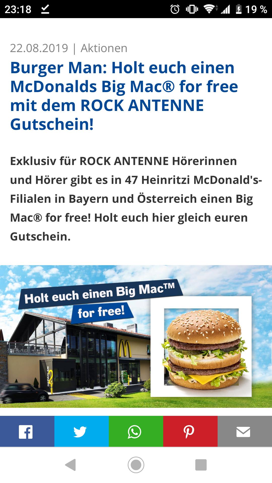 MC DONALDS BIG MAC FOR FREE von Rock Antenne!  [Lokal/Regional]