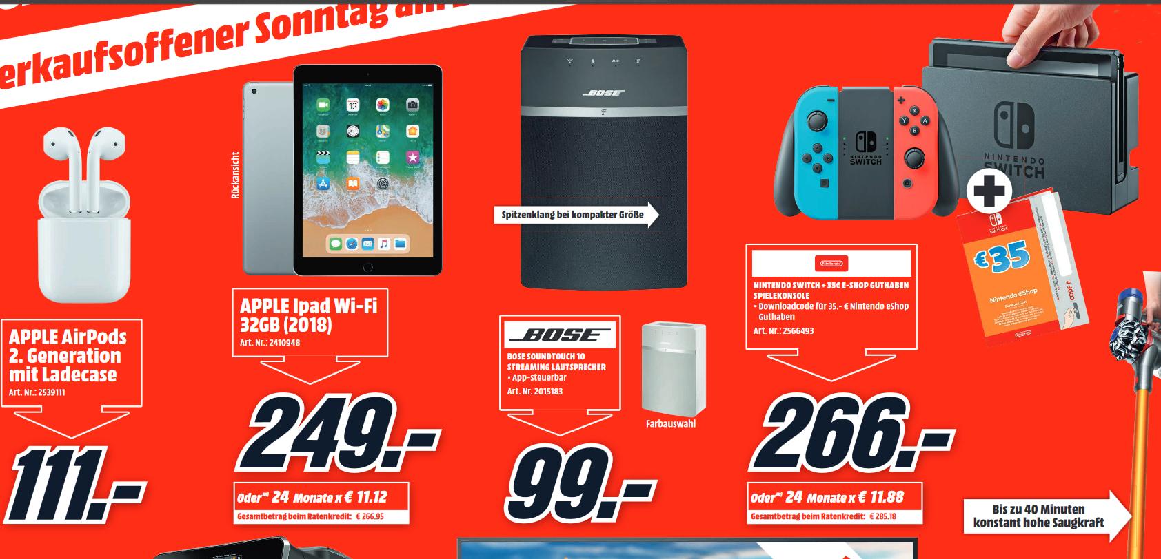 [Lokal: Media Markt Marktredwitz] Apple AirPods 2nd gen mit Ladecase | Apple iPad 32GB =249€ | Nintendo Switch + 35€ Guthaben =266€ | u.a.