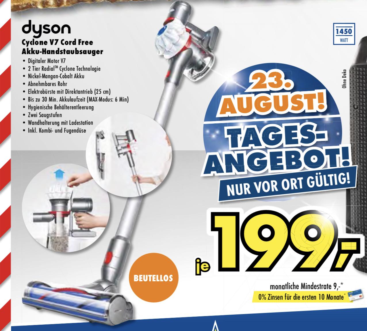 Lokal Euronics Mega Company: Dyson V7 Cord Free für 199€ oder Krups EA 8160 mit Auto-Cappucino-System für 199€ - NUR heute!