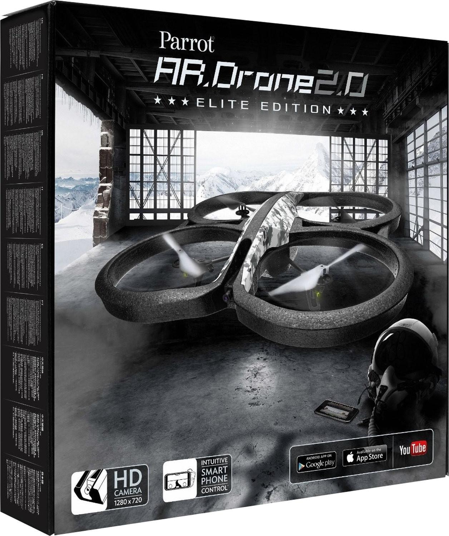 Parrot AR.Drone 2.0 Elite Edition (Videoaufnahmen in 720p, ~50m Reichweite, ~12min Akkulaufzeit, App-Steuerung, Ersatzrotorblätter)