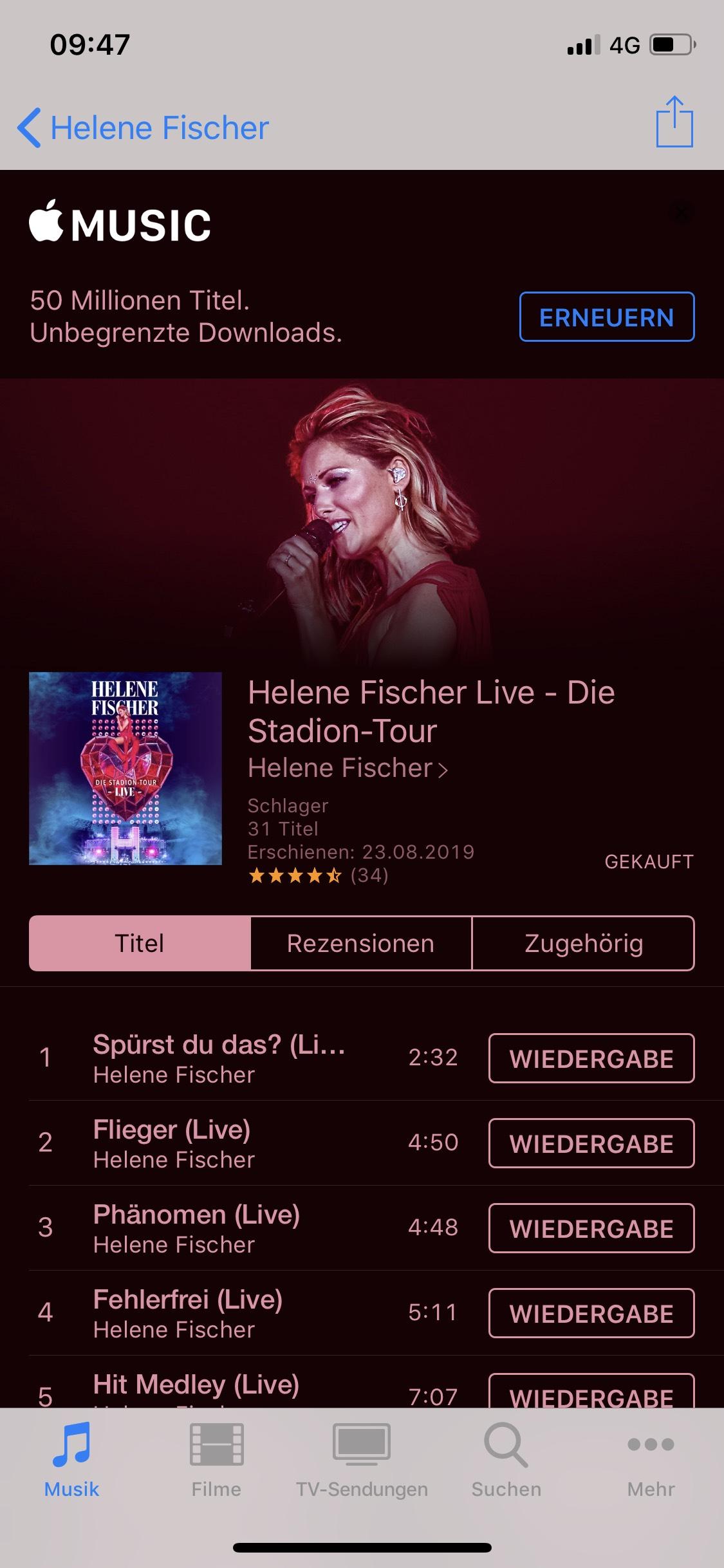 Helene Fischer Live Stadion Tour - iTunes Preisfehler
