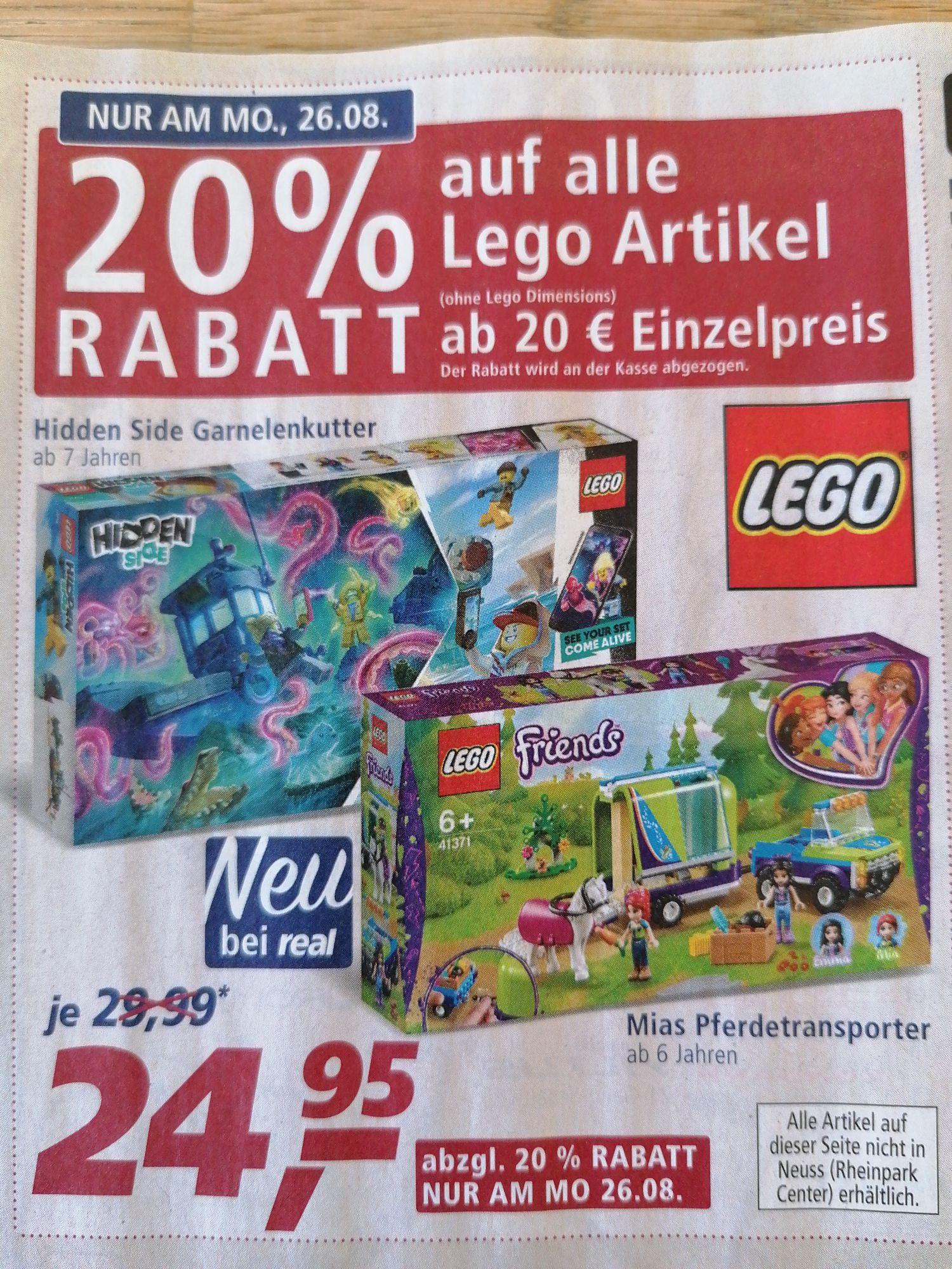 20% auf alle Lego Artikel ab 20 Euro Einzelpreis bei Real (regional)