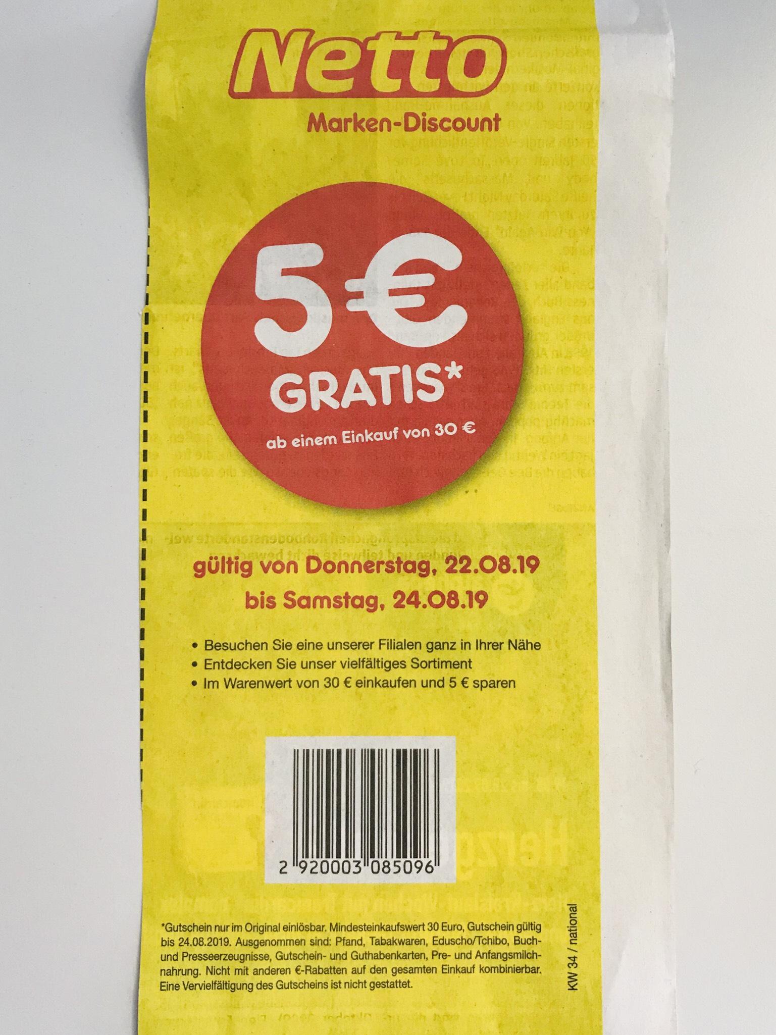 [Lokal Ingolstadt Augsburg Süd/Ost München] Netto Coupon 5€ ab Einkauf von 30€
