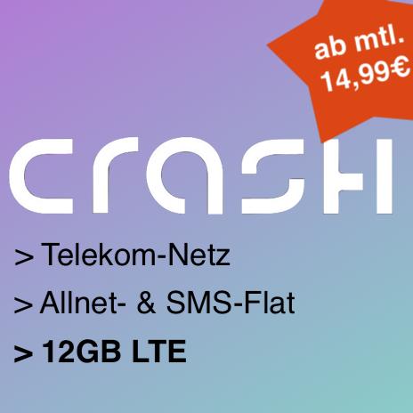 Crash Allnet Flat (12GB LTE) ab mtl. 14,99€ mit Allnet- & SMS-Flat, LTE25- od. 50-Option im Telekom-Netz [mtl. kündbar od. 24 Monate]