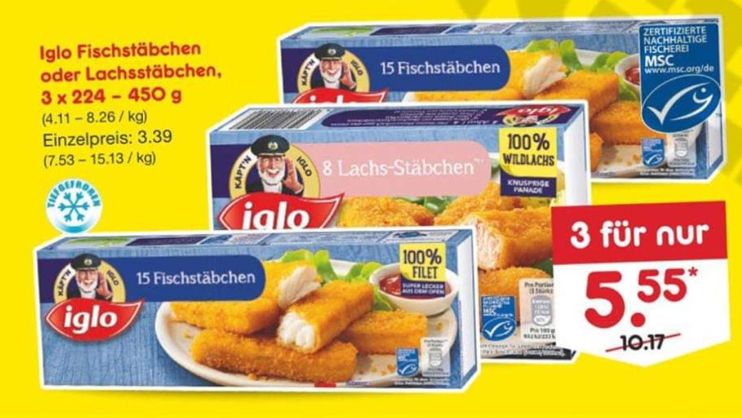 [Netto MD] [Ab 29.08] 3x 15 Iglo Fischstäbchen für 5,55€