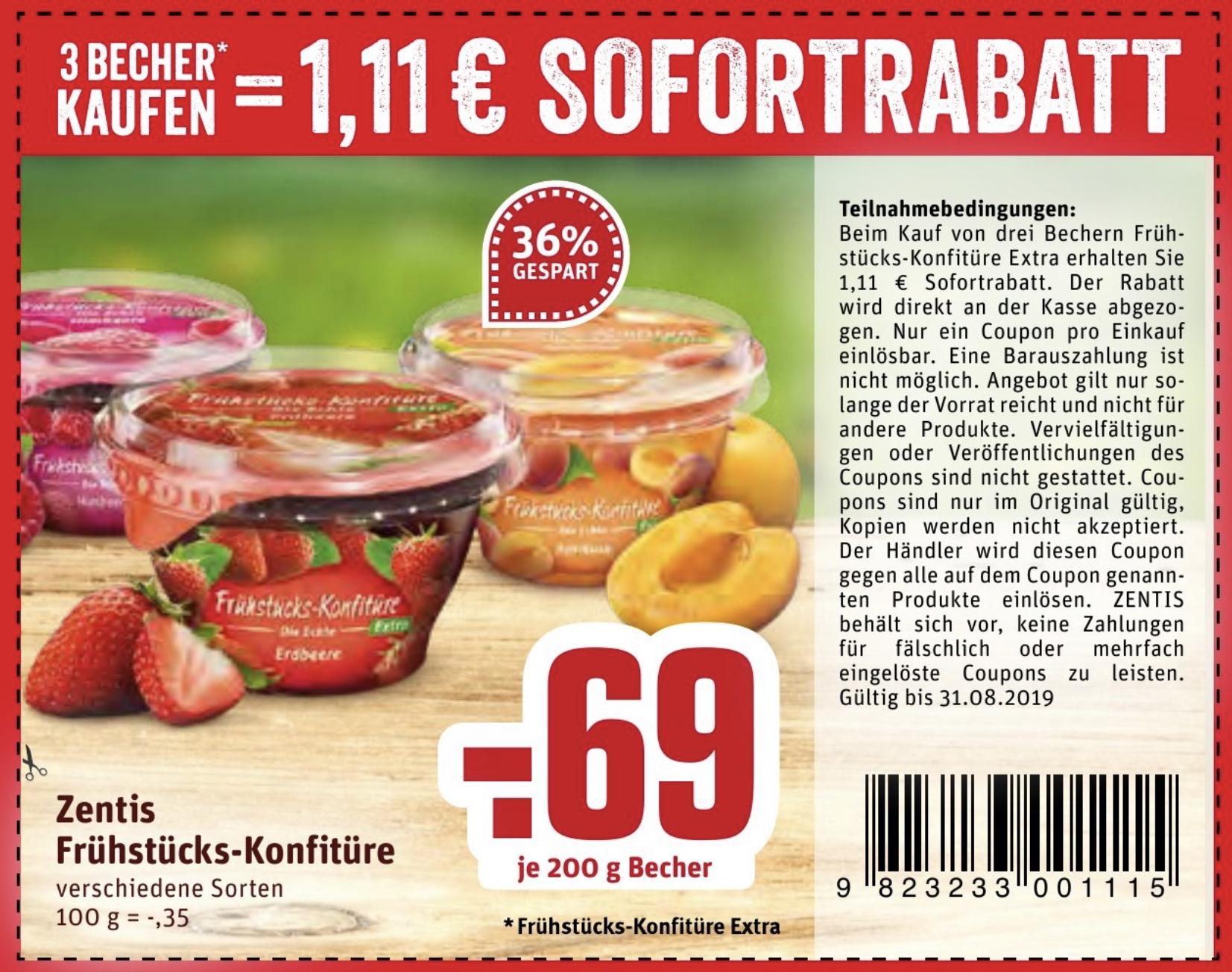 Rewe Dortmund ab 26.08.: 3 Becher Zentis Frühstücks-Konfitüre für 0,96€ - je Becher 32 Cent!