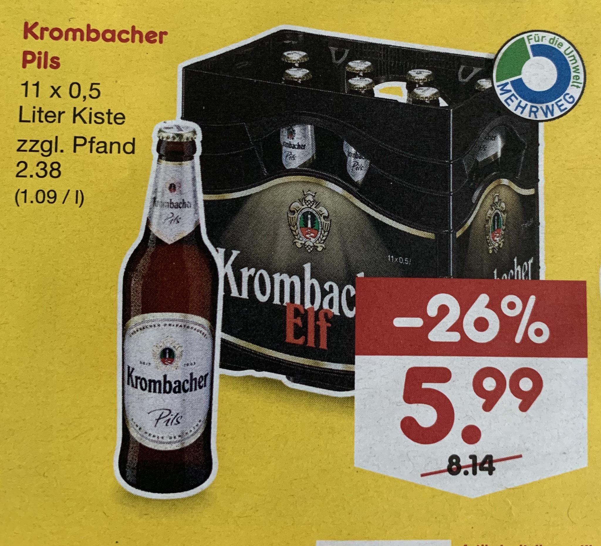 [Netto MD] 11er Kiste Krombacher Bier für 5.99€ zzgl. 2.38 Pfand (1.09/Liter) ab 26.08.2019