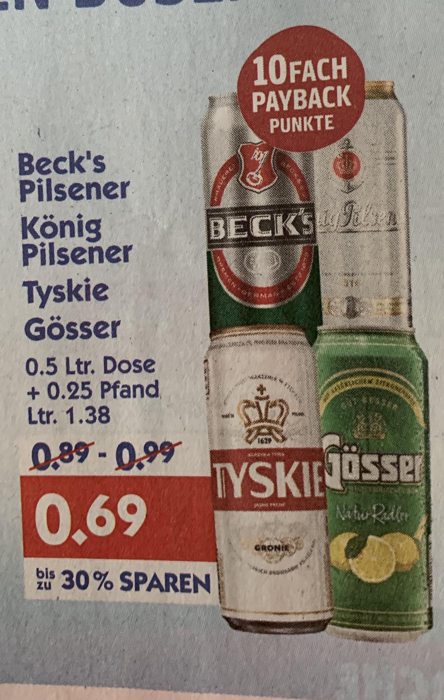 [Hol' Ab] Gösser Naturradler 0,5 Liter Dose für 0.69€ zzgl. 0.25€ Pfand o. Kiste Tyskie Radler für 12.99€
