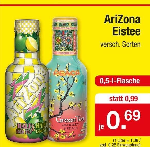 AriZona Eistee, verschiedene Sorten, 0,5l für 69 Cent / Develey Senf, 200g, mittelscharf, für nur 19 Cent [Zimmermann]