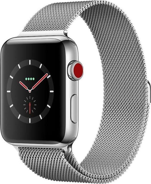 Apple Watch Series 3 Edelstahl Milanaise Armband 42mm Cellular