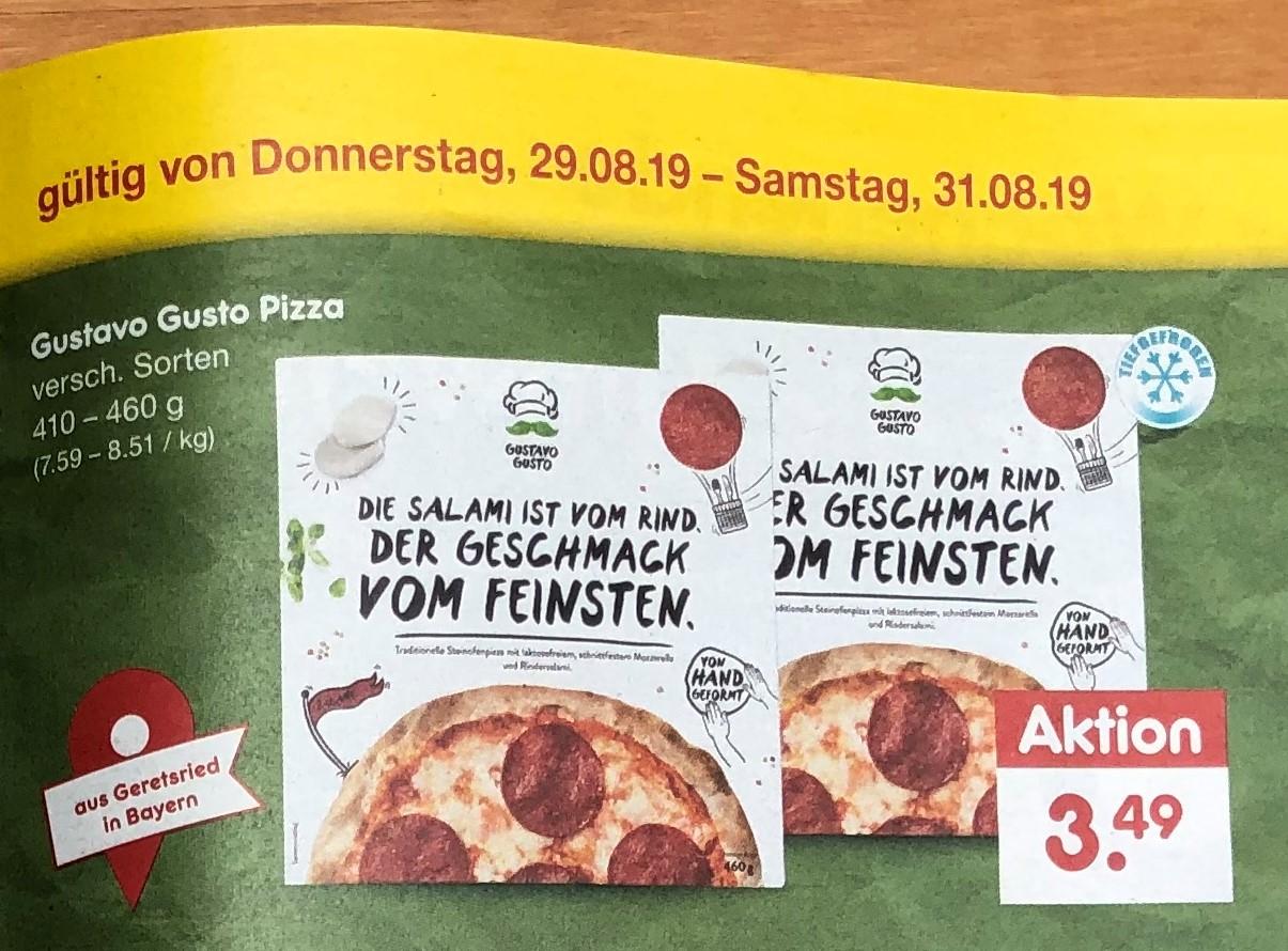 [Netto Marken-Discount][BW+Bayern] Gustavo Gusto Pizza versch. Sorten 410-460 g
