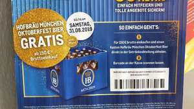 Kiste Hofbräu kostenlos @Metro am 31.8. ab 150 EUR Bruttoeinkauf