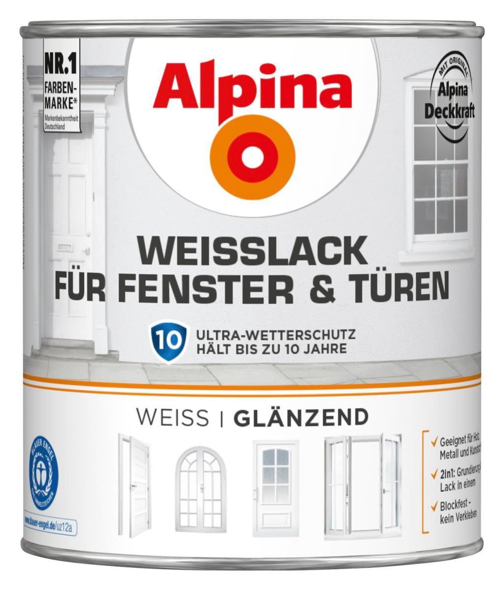 Alpina Weisslack Fenster & Türen, 750ml, glänzend