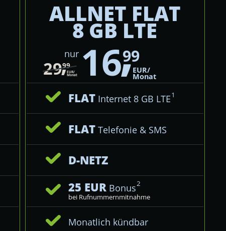 Freenet Mobile Allnet Flat Tarife im Vodafone-Netz mit LTE, monatl. kündbar, z.B. 8GB für 16,99€