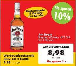 Jim Beam Bourbon Whiskey (40% Vol.) für €8,98 [@Citti-Markt OFFLINE]