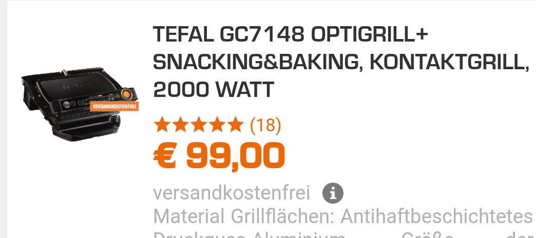 TEFAL GC7148 OPTIGRILL+ SNACKING&BAKING, KONTAKTGRILL, 2000 WATT