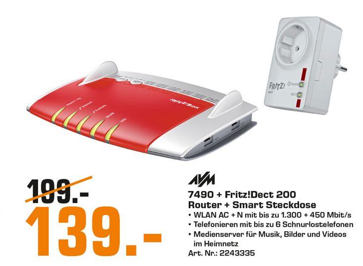 [Regional Saturn Rostock] AVM FRITZ!Box 7490 + FRITZ!DECT 200 intelligente Steckdose Bundle für 139,-€