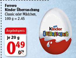 [Globus bundesweit] Ü-Ei für 49 Cent bzw. Netto NMD 2 Eier für 1 Euro