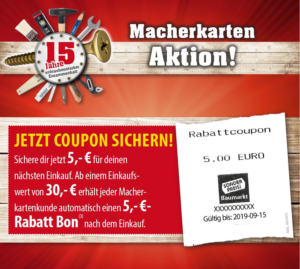 [Sonderpreis-Baumarkt] 5€ Rabatt als FOLGEBON ab 30€ Einkaufswett