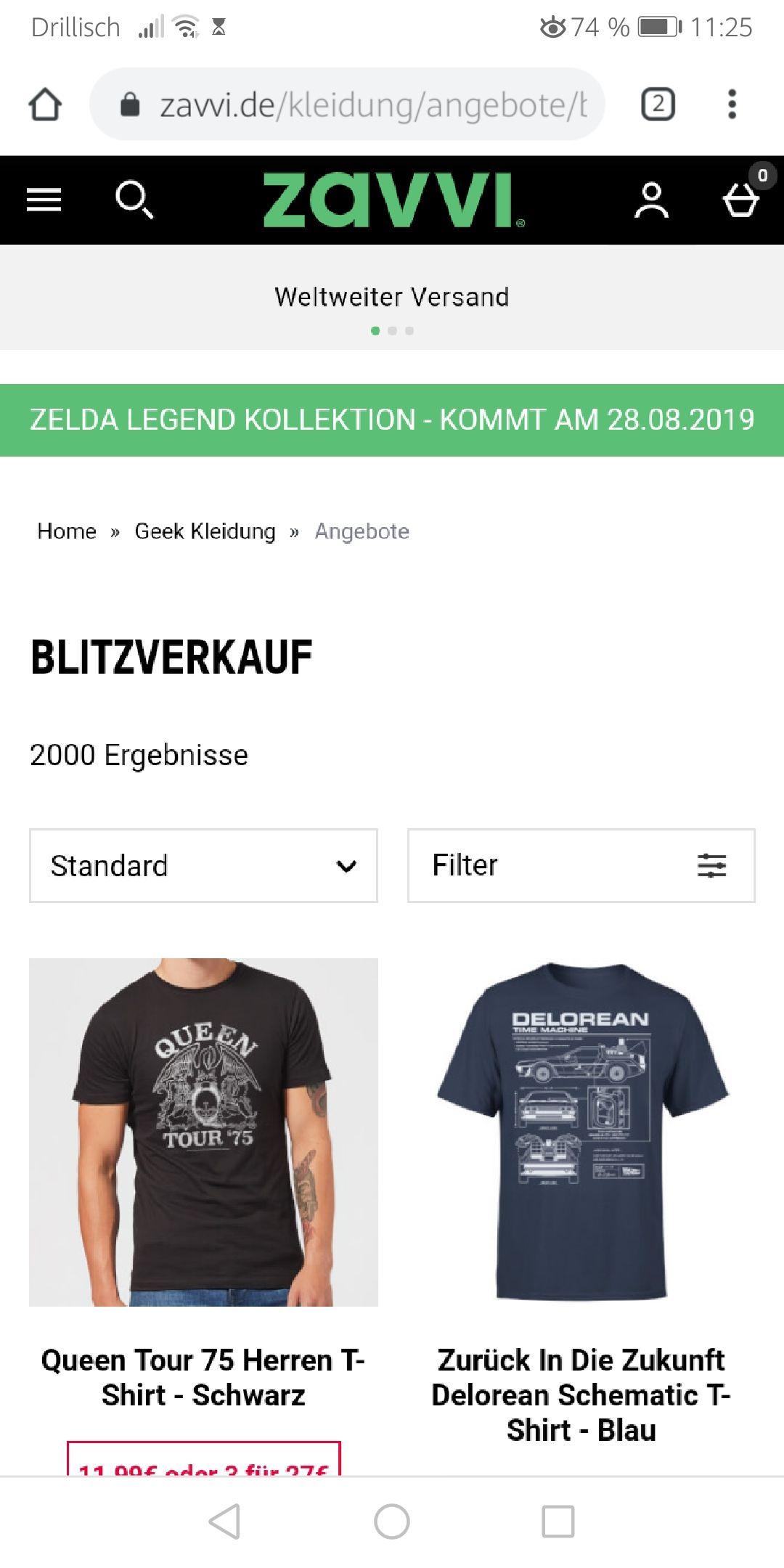 Zavvi.de 3 Shirts für 27,00 Euro