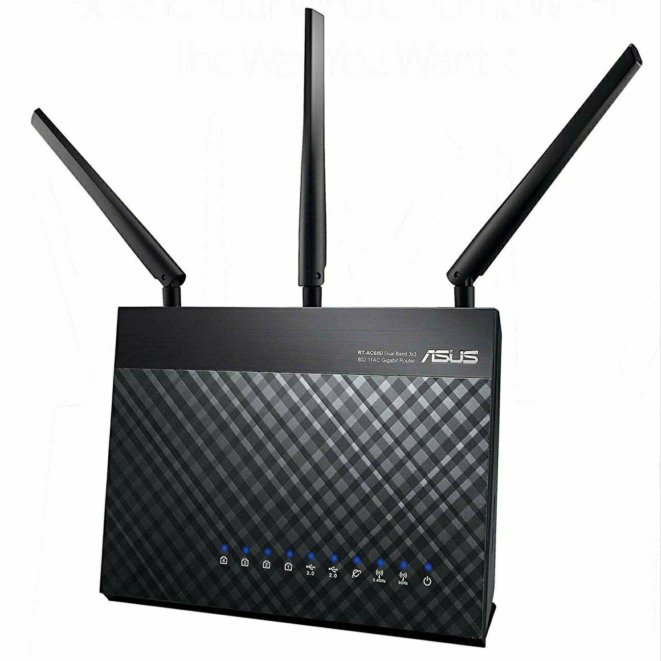[NL Grenzgänger] Asus RT-AC68U Router (Mesh WLAN System, WiFi 5 AC1900, 4x Gigabit LAN, App Steuerung, Multifunktion-USB 3.0)