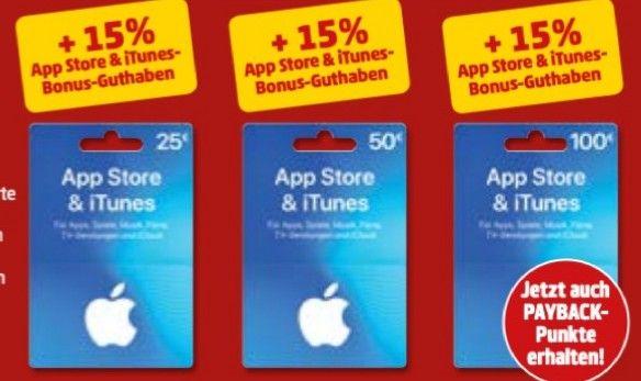 +15% Guthaben für denApp Store & bei iTunes - 25€, 50€ o. 100€ + Payback-Punkte auf Guthabenkauf