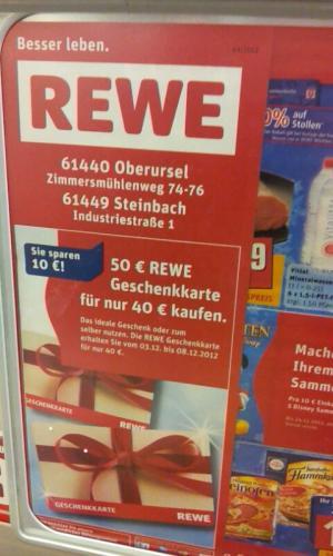 LOKAL - REWE: 50€ Geschenkkarte für nur 40€