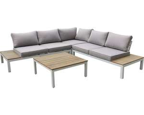 Lounge-Set aus Aluminium und Eukalyptus-Holz