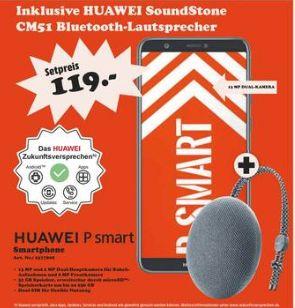 [Regional Mediamarkt Dessau und Eisenach] HUAWEI P smart 32 GB Schwarz Dual SIM + Huawei Bluetooth Speaker CM51 grau für 119,-€