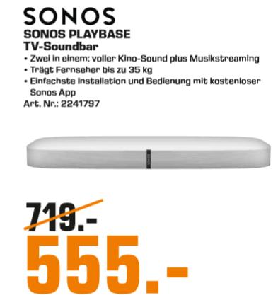 [Lokal: Saturn Celle] Sonos Playbase weiß   Sonos Connect:AMP für 333€   BOSE SoundSport IE In-ear Kopfhörer für 37€