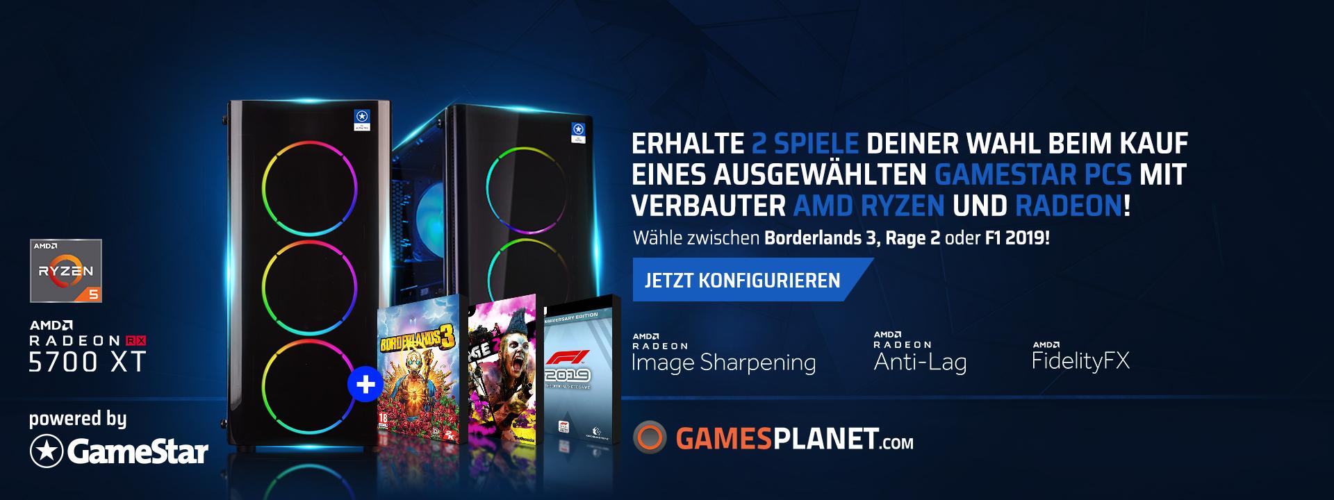 3x Gamestar PC inkl. 2 von 3 Game Bundle (Borderlands 3, Rage 2 und F1 2019)
