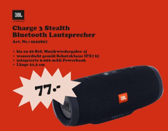 [Regional Mediamarkt Berlin/Brandenburg ab 28.08] JBL Charge 3 Black Tragbarer Bluetooth-Lautsprecher Schwarz 20 Watt  für 77,-€