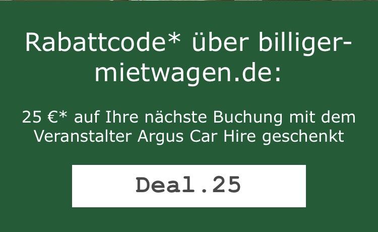 Gutschein bei billiger-Mietwagen (gilt nur für Argus Car Hire)
