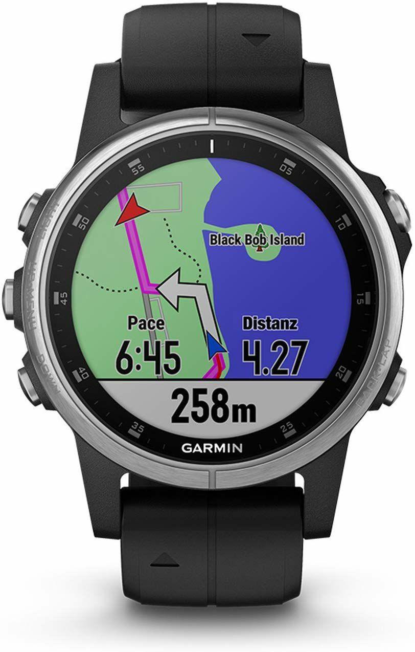 Garmin Fenix 5S Plus Schwarz Multisport-Smartwatch - Europakarte, Musikplayer, kontaktloses Bezahlen