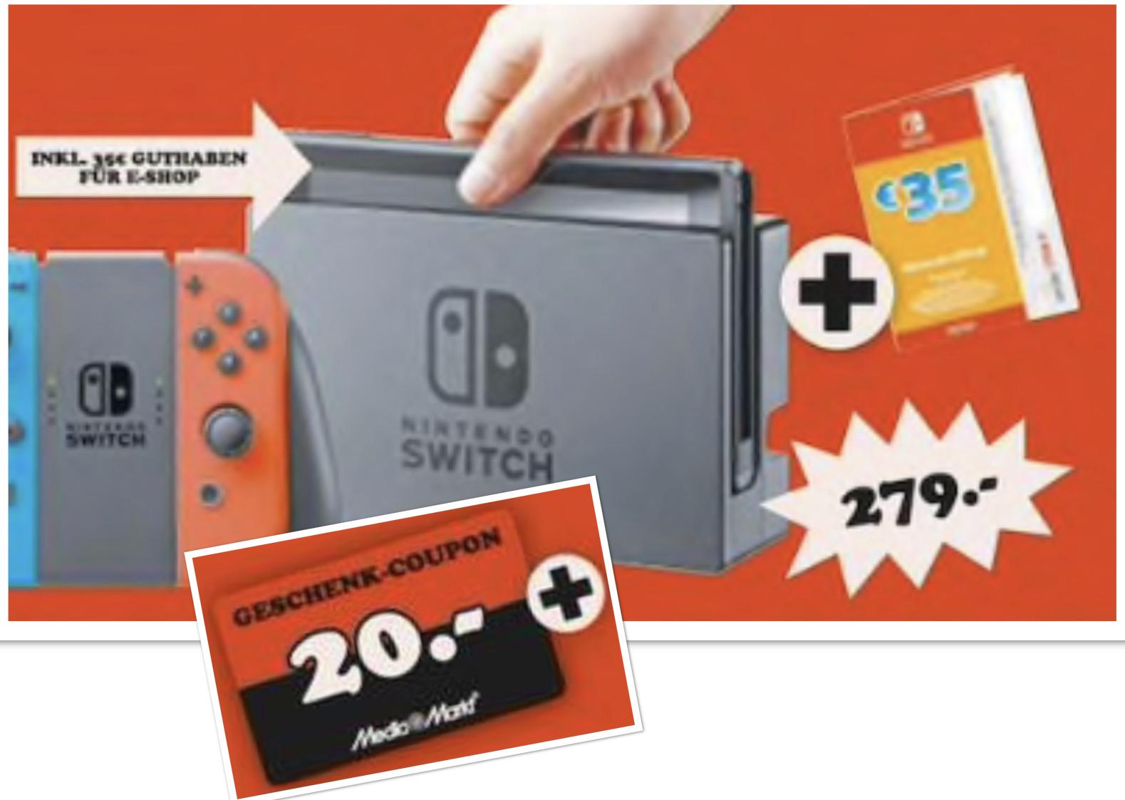 Lokal MediaMarkt Alzey, Mainz: Nintendo Switch Konsole + 35€ E-Shop Guthaben + 20€ Geschenk-Coupon + Zubehörpaket für 279€