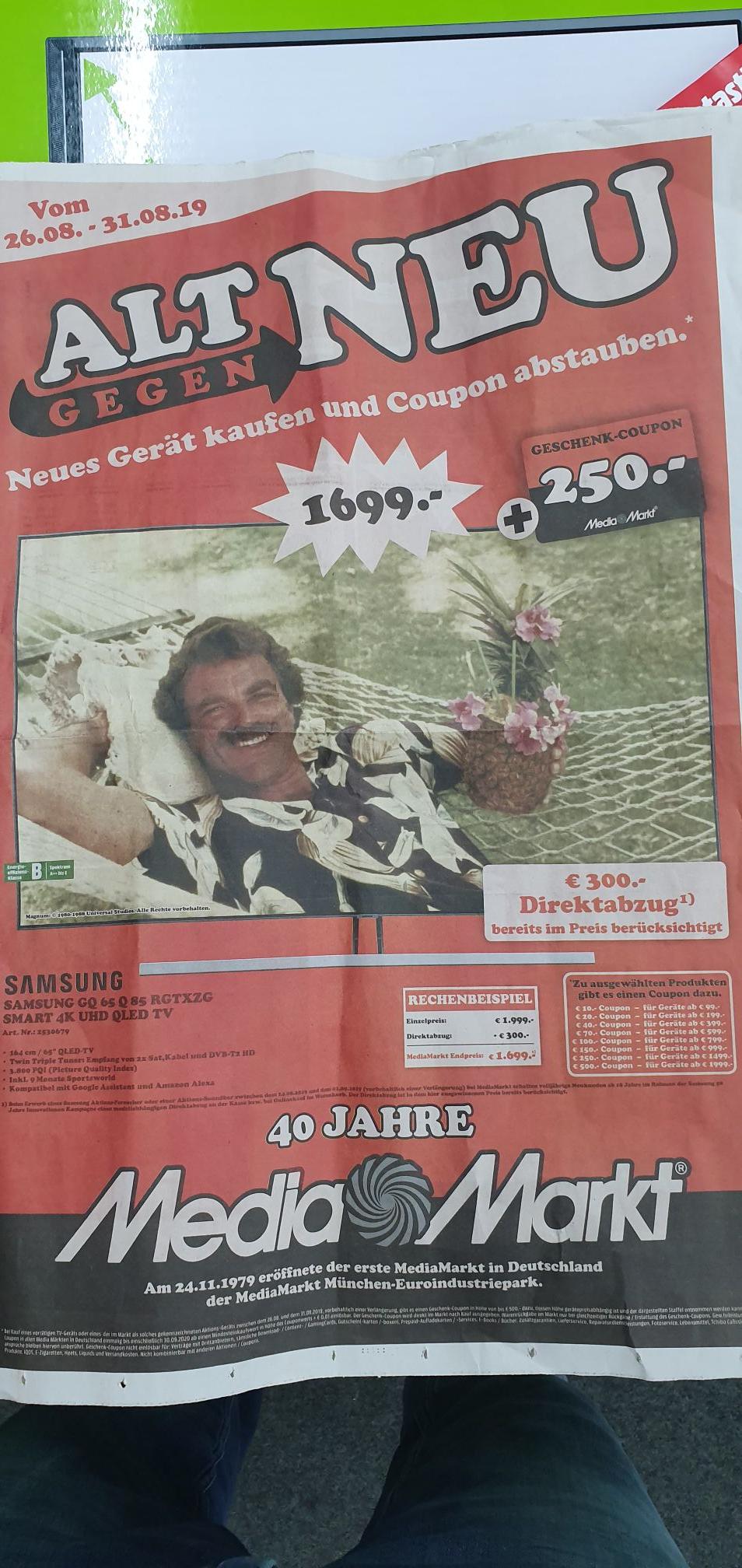 Samsung GQ65Q85RGT + 250€ Coupon TV Fernseher 4K Smart MediaMarkt Porta Westfalica