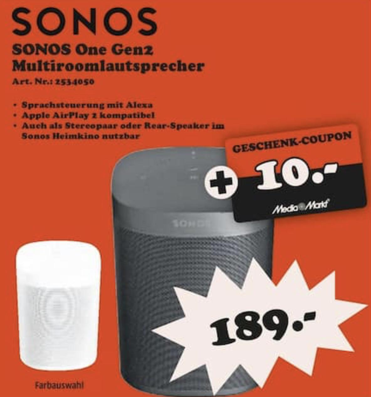 Lokal MediaMarkt Gütersloh, Lippstadt: Sonos ONE 2. Generation + 10€ Geschenk-Coupon für 189€