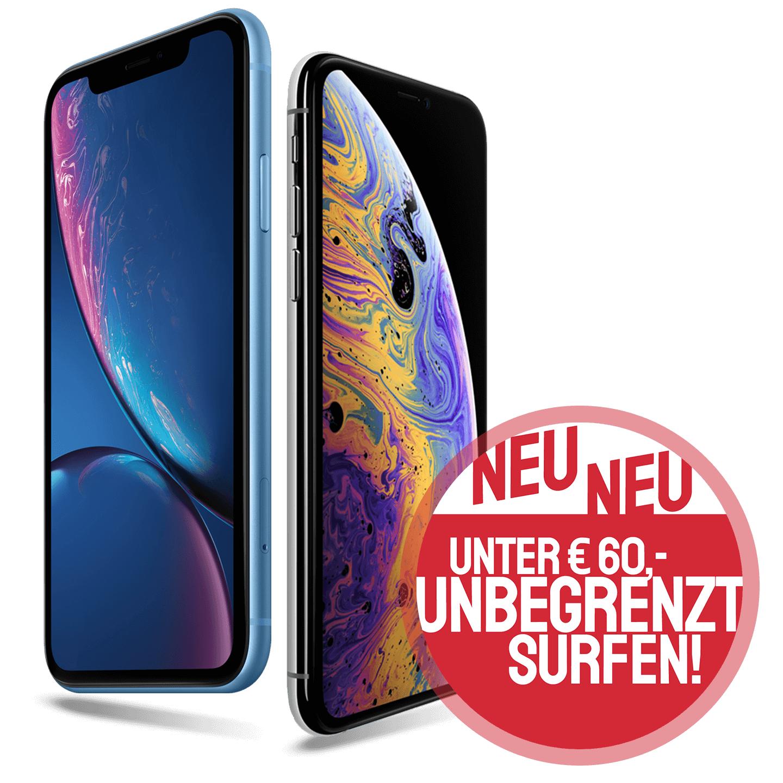iPhone XS incl. O2 Free unlimited LTE für 59,99€ mtl. (29,-€ Gerätepreis / 39,99€ Anschlusskosten)
