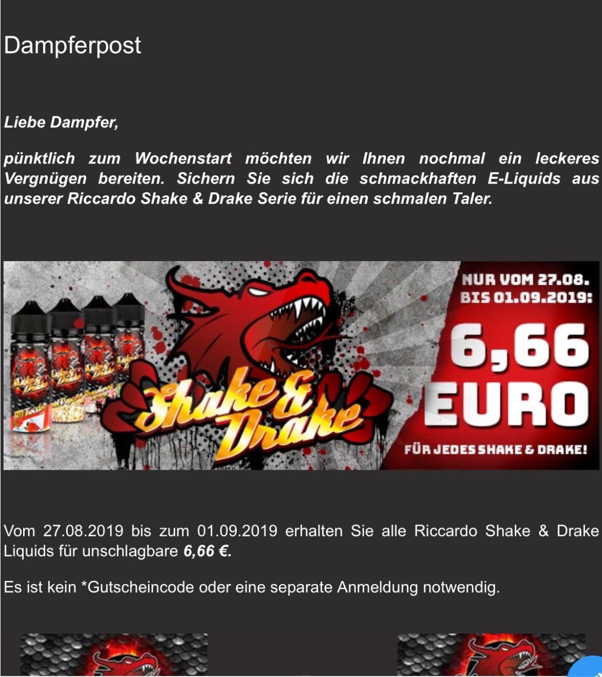 [Riccardo] Red Dragon Shake&Drake alle Sorten für 6,66€ im Laden, online + Versand ab 27.08.19