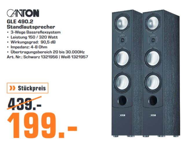 [Lokal: Saturn Trier] Canton GLE 490.2 - 3-Wege Standlautsprecher (Stück) | Denon AVR-X1500H =279€ | Bose Soundbar & Bass Module 500 =649€