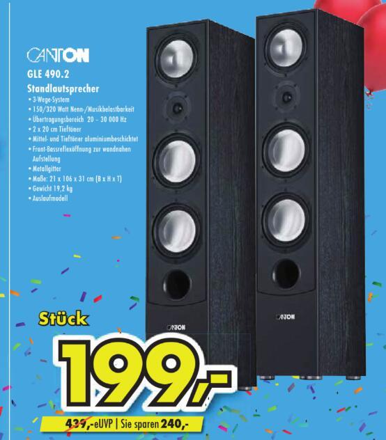 [Lokal: Euronics XXL Brumberg] Canton GLE 490.2 | Panasonic TX-55FXW784 =799€ | Tefal OptiGrill GC702D =79€ | Sony SRS-XB32 =99,90€ +VSK